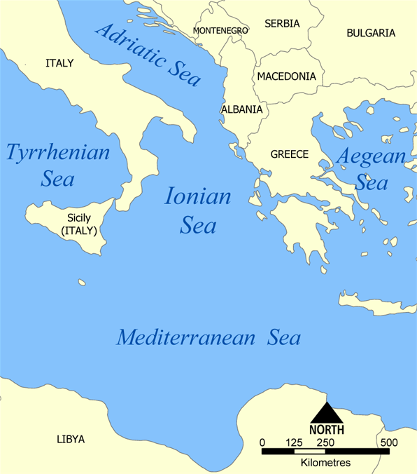 Map of Ionian Sea