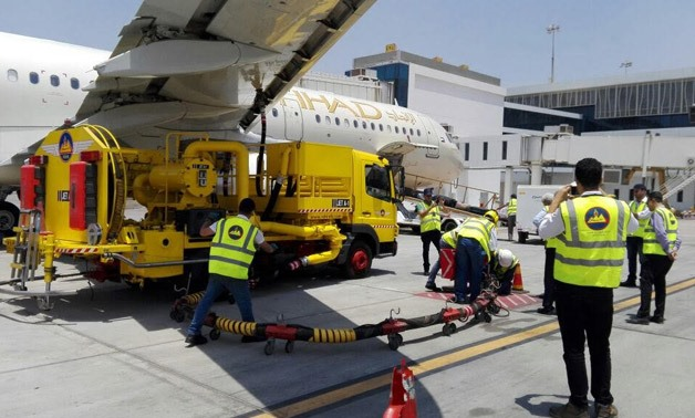 Jet fuel hydrant line at Cairo Airport- Press Photo