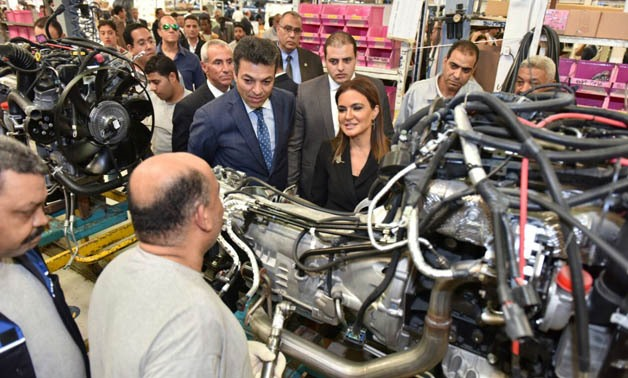 Minister of Investment Sahar Nasr during her visi to Toyota factory- Press Photo.