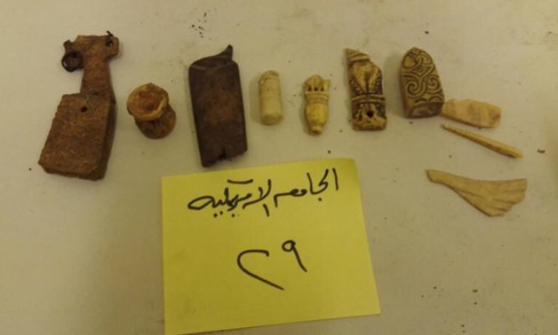 Set of artifacts that were reclaimed fro the American University in Cairo- press photo