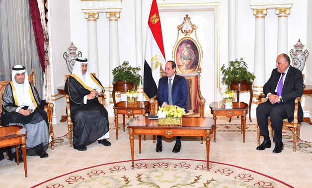 President Abdel Fatah al-Sisi meets with First Deputy Prime Minister and Minister of Foreign Affairs Sheikh Sabah Al-Khaled Al-Hamad Al-Sabah- Press Photo
