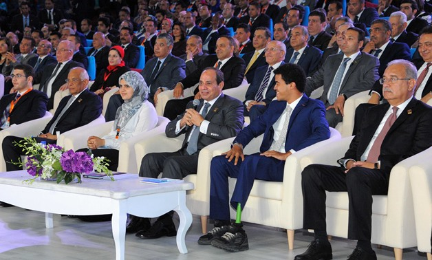 President Abd Al Fatah Al Sisi in the fourth National Youth Conference – Press photo.