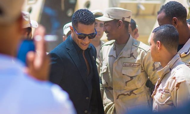 Mohamed Ramadan along with some of Egyptian army soldiers- Official Facebook Page