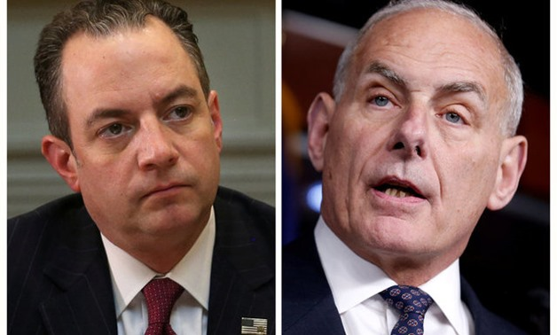 A combination photo of Chief of Staff Reince Priebus (L) at the White House in Washington, U.S., June 26, 2017 and John Kelly on Capitol Hill in Washington, U.S., June 29, 2017. REUTERS