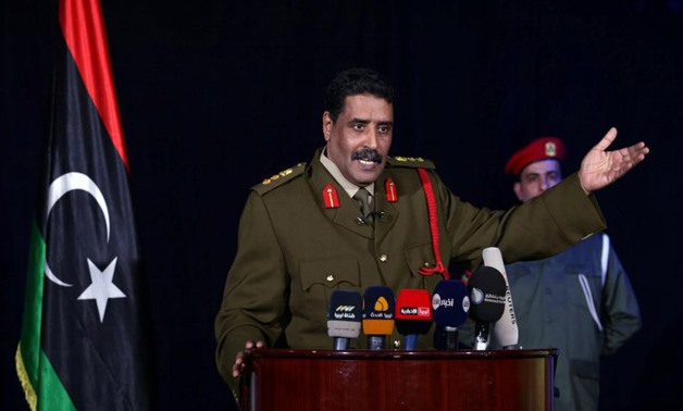 Colonel Ahmed al-Mismari, spokesman of the Libyan National Army (LNA), gestures during a news conference in Benghazi, Libya – photo by Esam Omran Al-Fetori/Reuters