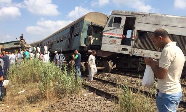 Two trains collided in the Mediterranean city of Alexandria, Friday August 11, 2017, leaving more than 20 dead and dozens injured - Photo by Asmaa Badr