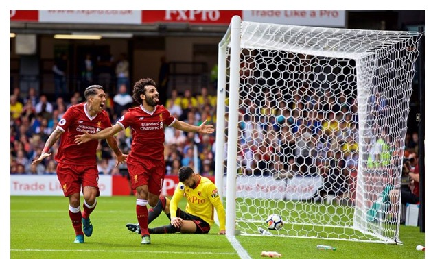 Salah celebrating his goal against Watford – Liverpool FC Facebook Page