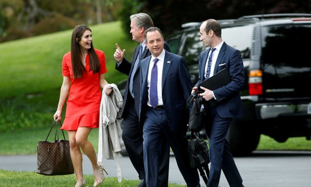 White House Director of Strategic Communications Hope Hicks, Chief Strategist Steve Bannon, Chief of Staff Reince Priebus and Senior Advisor Stephen Miller follow U.S. President Donald Trump - REUTERS