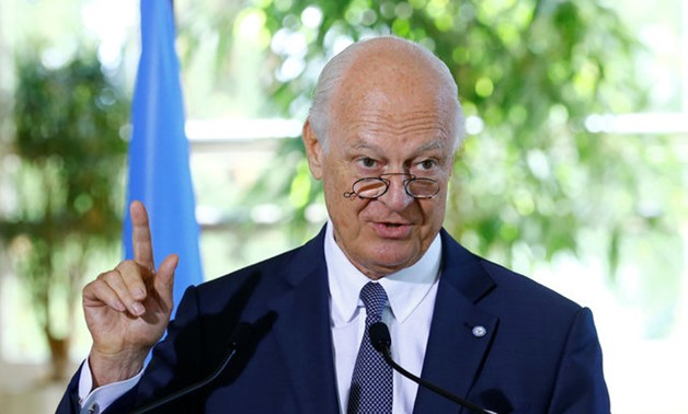 UN Special Envoy for Syria de Mistura attends a news conference at the United Nations in Geneva - REUTERS