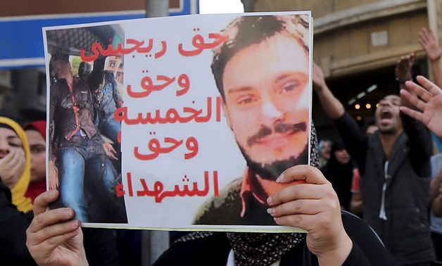 PROTEST: Giulio Regeni – seen here on a posted held by an Egyptian activist – was killed in late January or early February. Italian officials say Egypt is not serious about helping find his murderers - REUTERS/Staff