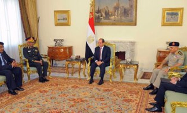 President Sisi meets with Sudanese Defense Minister Awad Mohamed bin Auf in Cairo – Press Photo by the presidency's spokesperson's office