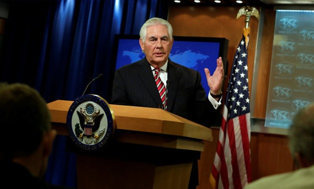 Secretary of State Rex Tillerson speaks at a press briefing - REUTERS