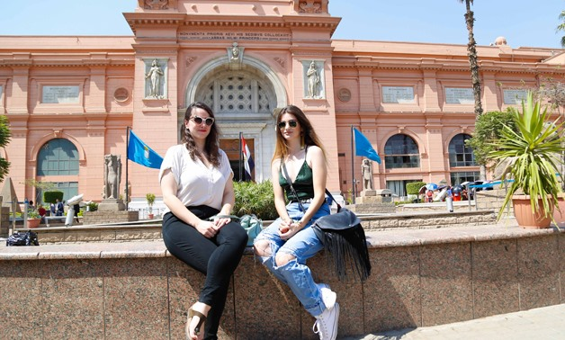 The two girls in front of the Egyptian Museum - Karim Abdel Aziz