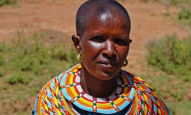 This area is populated by the Samburu tribe and women usually wear these huge, colorful, beaded necklaces