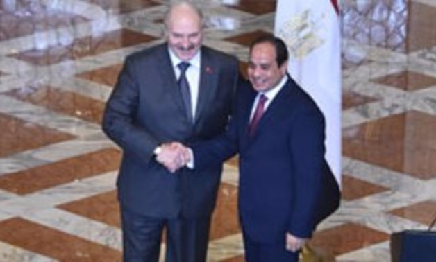 Egyptian president with Belarusian President last January in Egypt