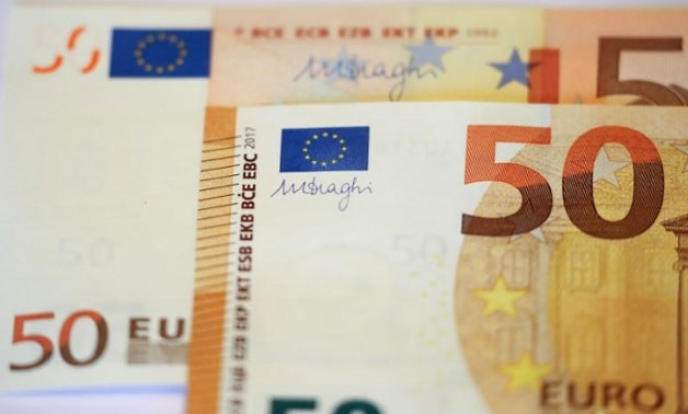 The new 50 euro banknote during a presentation by the German Central Bank (Bundesbank).