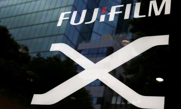 Fujifilm's company logo is seen at its exhibition hall nearby the headquarters of Fujifilm Holdings Corp in Tokyo, Japan June Kim REUTERS- Kyung-Hoon
