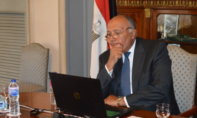 Egyptian Foreign Minister Sameh Shoukry participates in the 9th Session of the China-Arab States Cooperation Forum at the Ministerial Level on Monday- press photo.