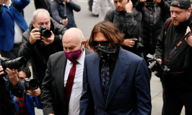 Actor Johnny Depp arrives at the High Court in London, Britain, July 9, 2020. REUTERS/Toby Melville