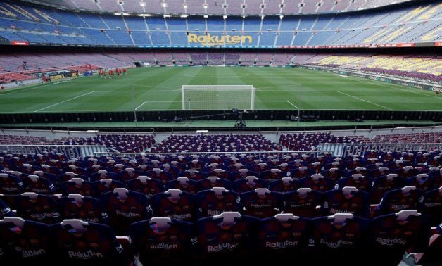 General view inside the stadium before the match team jerseys were placed in the stands, as play resumes behind closed doors following the outbreak of the coronavirus disease (COVID-19) REUTERS/Albert Gea
