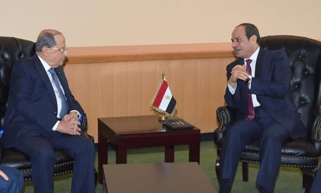 President Abdel Fattah El Sisi met, Tuesday with Lebanese counterpart Michel Aoun on the sidelines of the 74th session of the United Nations General Assembly (UNGA) in New York - Press Photo
