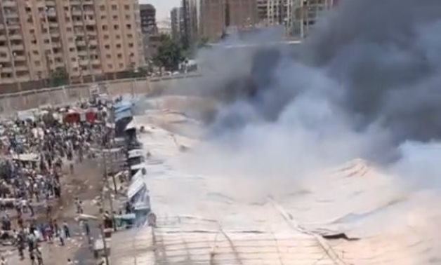 A fire broke out at Toshka Market in Greater Cairo's Helwan district