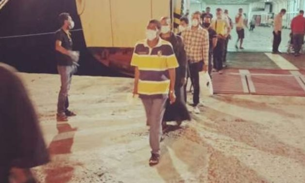 The first batch of Egyptian expats, stuck in Jordan and repatriated by sea over COVID-19 outbreak, arrived in Nueiba Port on June 29, 2020. Press Photo