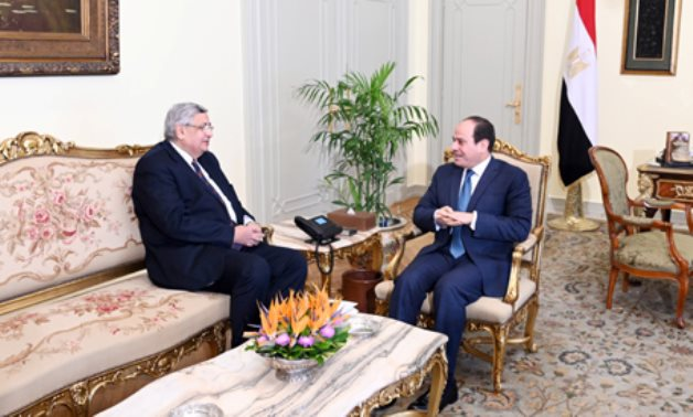 File- Egyptian President Abdel Fattah al-Sisi meets with Dr. Mohamed Awad Tag Eldin following his appointment as an adviser to the President on Health and Prevention Affairs, March 21, 2020 (Photo: Reuters)