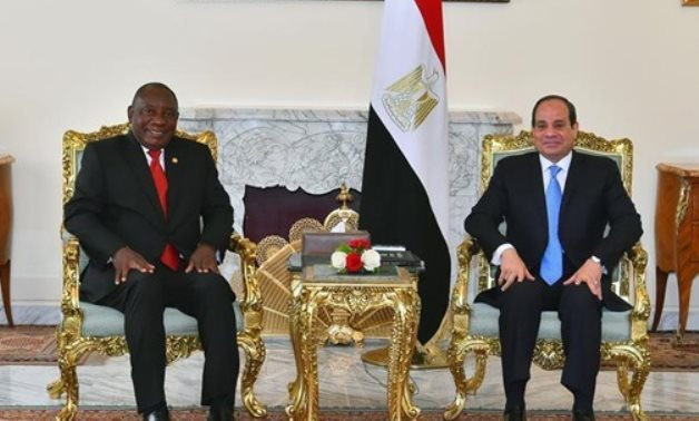 FILE - President Abdel Fatah al-Sisi received his South African counterpart Cyril Ramaphosa in Ittihadiya presidential palace. December 12, 2019. Press Photo