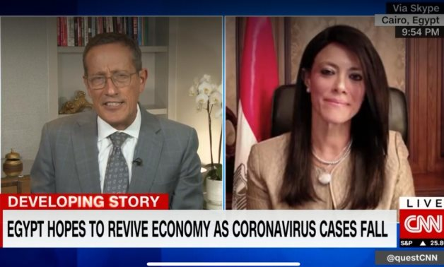 Minister of International Cooperation Dr. Rania Al Mashat joins Richard Quest in CNN's Quest Means Business.- press photi