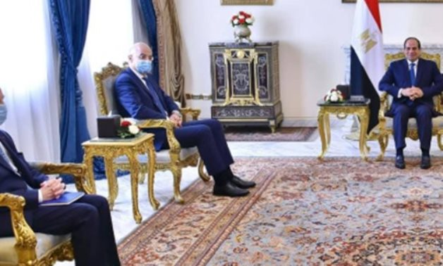 Egyptian President Abdel Fattah El-Sisi on Thursday received the Greek foreign minister in Cairo - Press photo