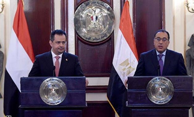 File- Prime Minister Mustafa Madbouli in a press conference with his Yemeni counterpart Maeen Abdulmalik Saeed in Cairo on Sunday.- press photo