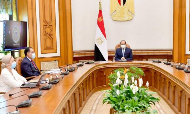 President Sisi meets with Prime Minister Mustafa Madbouli, Environment Minister Yasmine Fouad, and Local Development Minister Mahmoud Shaarawy- press photo