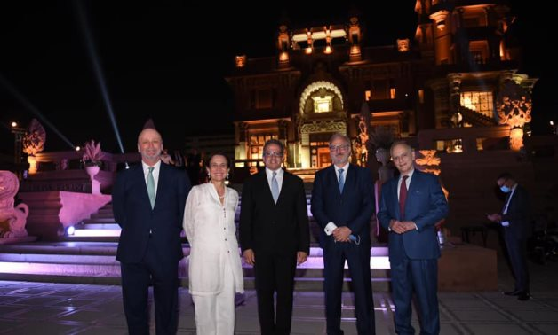 Egypt's Min. of Tourism & Antiquities with some of the attending ambassadors at the Baron Empain Palace in Heliopolis – Min. of Tourism & Antiquities official Facebook