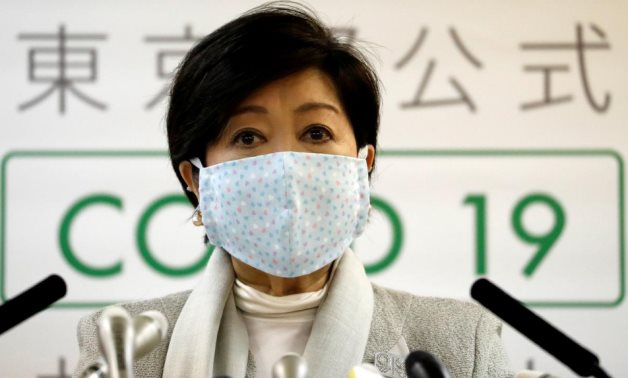 Tokyo Governor Yuriko Koike attends a news conference on Tokyo's response to the coronavirus disease (COVID-19) outbreak in Tokyo, Japan, April 10, 2020. /Reuters