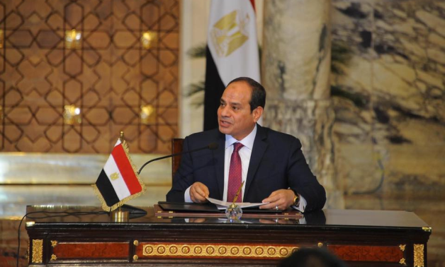 President Abdel Fattah El-Sisi in a press conference in 2017- Press photo
