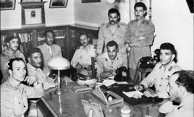 "July 23, 1952, A photo shows the meeting of the Egyptian ""Free Officers"""
