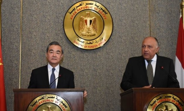Egyptian Foreign Minister Sameh Shoukry holds a press conference with his Chinese counterpart, Wang Yi, in Cairo - Courtesy of the Egyptian Foreign Ministry