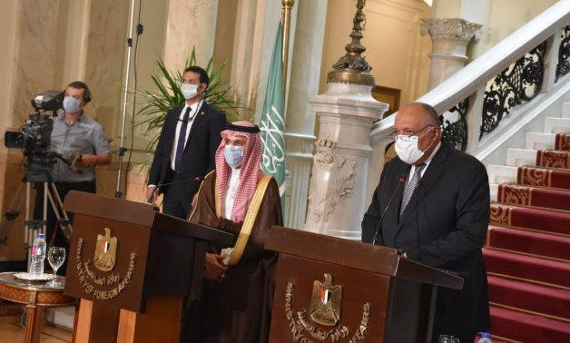 Egypt's Foreign Minister Sameh Shoukry during press conference with his Saudi counterpart, Monday - Press Photo