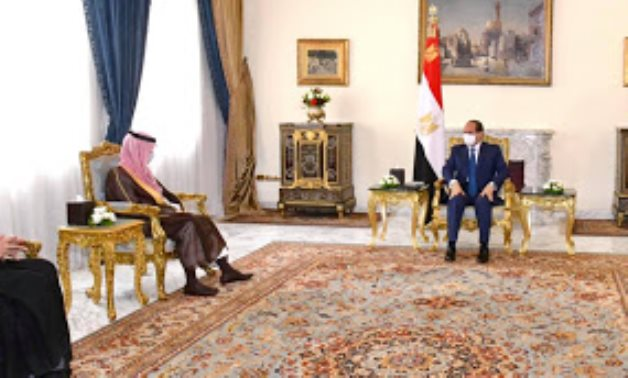 Egypt's President Abdel Fattah El Sisi meets with Saudi Arabia's Minister of Foreign Affairs Prince Faisal bin Farhan - Press photo