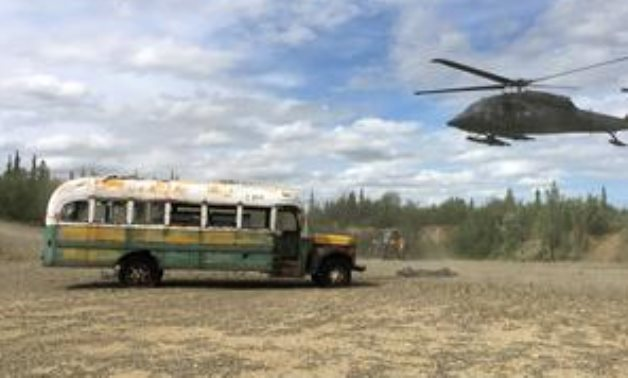 "FILE PHOTO: An Alaska Army National Guard UH 60 Blackhawk helicopter hovers near ""Bus 142"", made famous by the ""Into the Wild"" ."