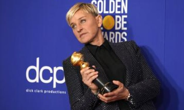 FILE PHOTO: 77th Golden Globe Awards - Photo Room - Beverly Hills, California, U.S., January 5, 2020 - Ellen DeGeneres poses backstage with her Carol Burnett award. REUTERS/Mike Blake/FILE PHOTO