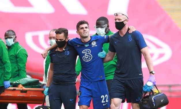 Chelsea's Christian Pulisic after sustaining an injury, Reuters