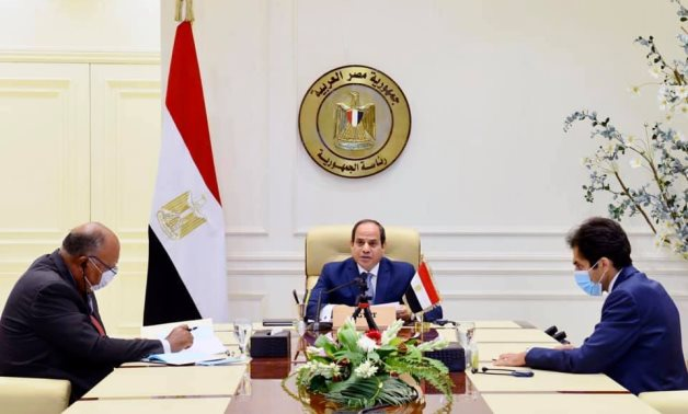 President Abdel Fattah El Sisi took part on Sunday in a virtual donors' conference co-hosted by French President Emmanuel Macron and the United Nations, with the aim of obtaining aid for Beirut. - Press photo