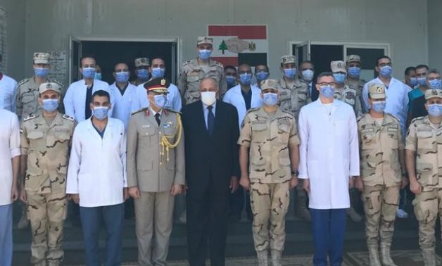 Egyptian Foreign Minister Sameh Shoukry at the Egyptian Field Hospital in Beirut - Press photo