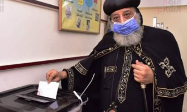 Pope Twadros II of Alexandria and Patriarch of St. Mark Diocese on Tuesday cast his ballot in the Senate elections.