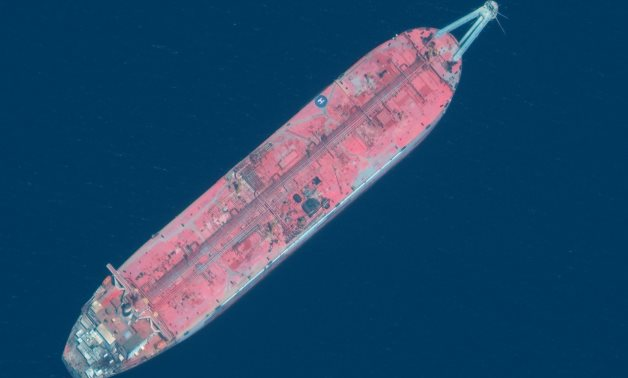 A handout satellite image released July 15, 2020 shows a close up view of FSO Safer oil tanker anchored off the marine terminal of Ras Isa, Yemen June 17, 2020. Picture taken June 17, 2020 - REUTERS