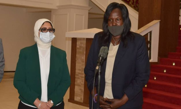 Egypt's Health Minister Hala Zayed (L) on Wednesday met with her South Sudan's counterpart, Elizabeth Achuei (R), in the capital, Juba – Press photo