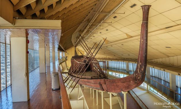 Khufu's 1st Solar Ship in its museum by the Pyramids of Giza - Photo via Hossam Abbas's