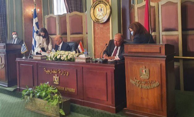 Egyptian Foreign Minister Sameh Shoukry and his Greek counterpart, Nikos Dendias announced signing a maritime demarcation agreement, August 6, 2020 – Press photo